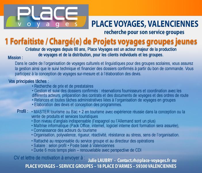 Un forfaitiste charg de projets voyages groupes h f for Lariviere valenciennes